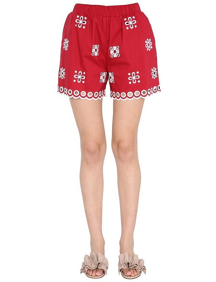 Shorts With Embroidered Cut Out - RED Valentino