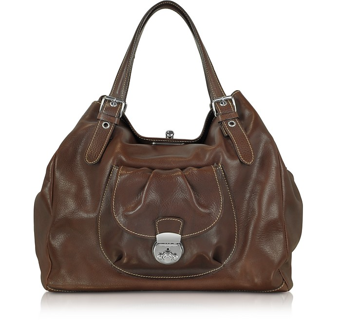 Brown Italian Leather Tote - Robe di Firenze