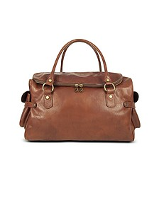 Large Brown Pebbled Italian Leather Carryall Bag - Robe di Firenze