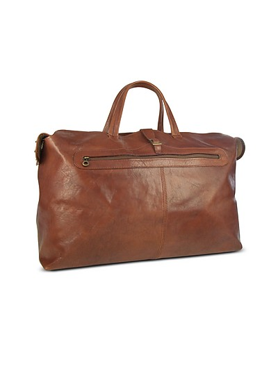 Large Brown Italian Leather Carry All Travel Bag - Robe di Firenze