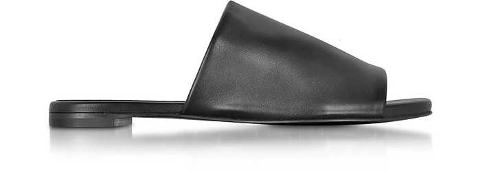 Gatom Black Leather Flat Slide - Robert Clergerie