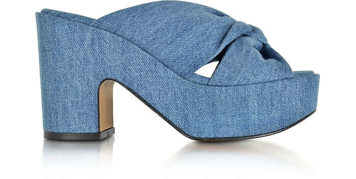 Esthert Blue Denim Platform Slide - Robert Clergerie