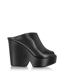 Dina Black Leather Wedge Mule - Robert Clergerie