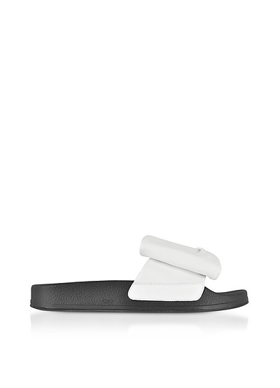 Wendy White Leather Slide Sandals w/Black Sole - Robert Clergerie