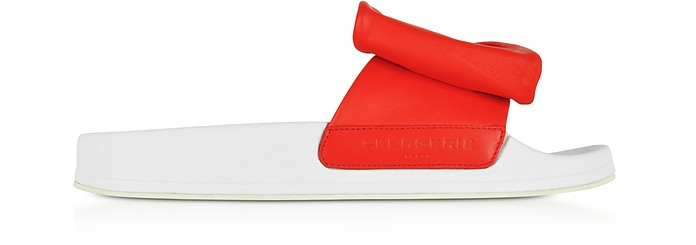 Wendy Blood Orange Leather Slide Sandals w/White Sole - Robert Clergerie