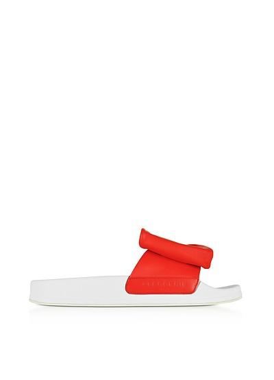 Wendy Blood Orange Leather Slide Sandals w/White Sole - Robert Clergerie