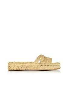 Idalie Natural Braided Raffia Flat Sandals - Robert Clergerie