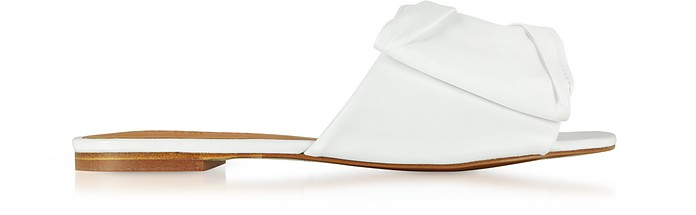 Igad White Leather Flat Sandals - Robert Clergerie