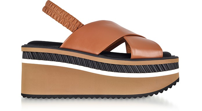 Omin Terracotta Brown Leather Platform Sandals - Robert Clergerie