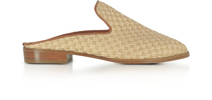 Aliceop Natural Woven Raffia and Terracotta Brown Leather Flat Mules - Robert Clergerie / ロベールクレジュリー