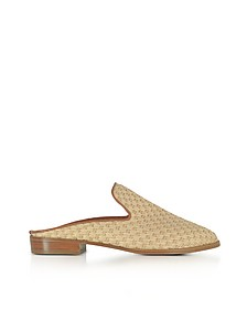 Aliceop Natural Woven Raffia and Terracotta Brown Leather Flat Mules - Robert Clergerie