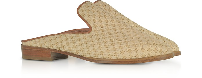 Robert Clergerie Aliceop Natural Woven Raffia And Terracotta Brown Leather Flat Mules Cheap Free Shipping IhAxlII4t