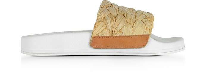 Walter Natural Braided Raffia Slide Sandals w/White Sole - Robert Clergerie