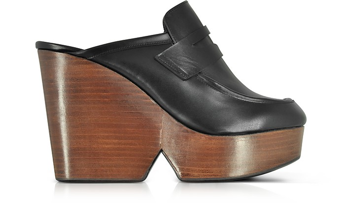 Damor Black Leather Wedge Mule - Robert Clergerie
