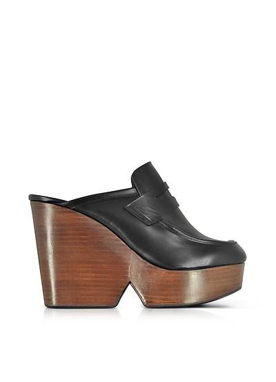 Damor Black Leather Wedge Mule - Robert Clergerie