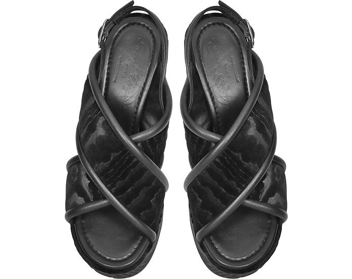 fa43a584ca7f Robert Clergerie Emelinet Black Velvet Wedge Sandals 41 IT EU at ...