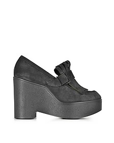 Boca Black Suede Wedge Loafer - Robert Clergerie