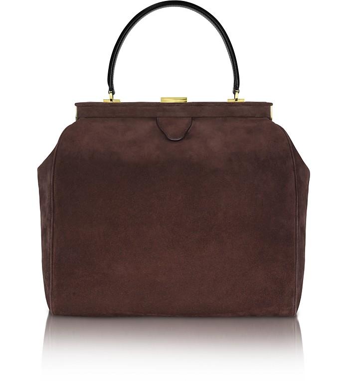 Dark Brown Suede Tote Bag - Rochas