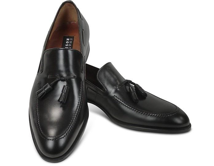 Loafer aus schwarzem Leder mit Troddeln - Fratelli Rossetti