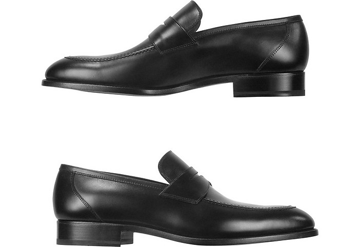 Fratelli Rossetti Designer Shoes, Dark Calf Leather Penny Loafer Shoes