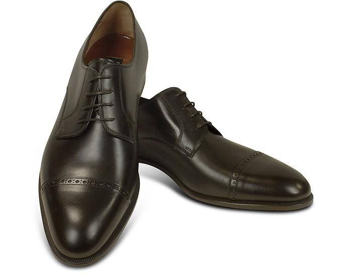 Dark Brown Calf Leather Cap Toe Oxford Shoes - Fratelli Rossetti