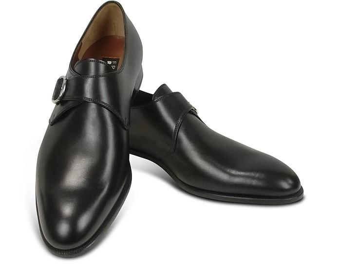 half off 0cd63 f8da6 Black Calf Leather Monk Strap Shoes
