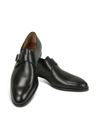 Black Calf Leather Monk Strap Shoes - Fratelli Rossetti