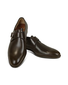 Dark Brown Calf Leather Monk Strap Shoes - Fratelli Rossetti