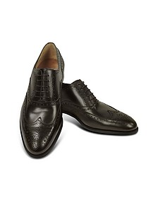 Dark Brown Calf Leather Wingtip Oxford Shoes - Fratelli Rossetti