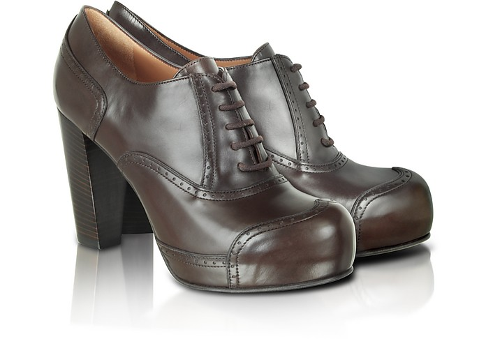 Brown Leather Oxford Pumps - Fratelli Rossetti