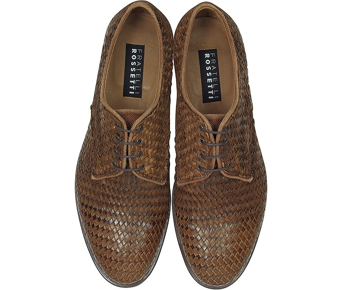 Derby Brown Woven Leather Shoes
