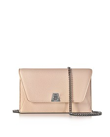 Anouk Pale Rose Pebbled Leather Clutch w/Chain - Akris