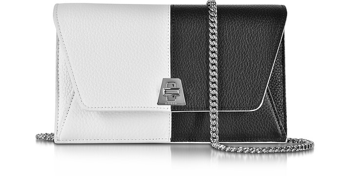 Anouk Black & White Pebbled Leather Clutch w/Chain - Akris