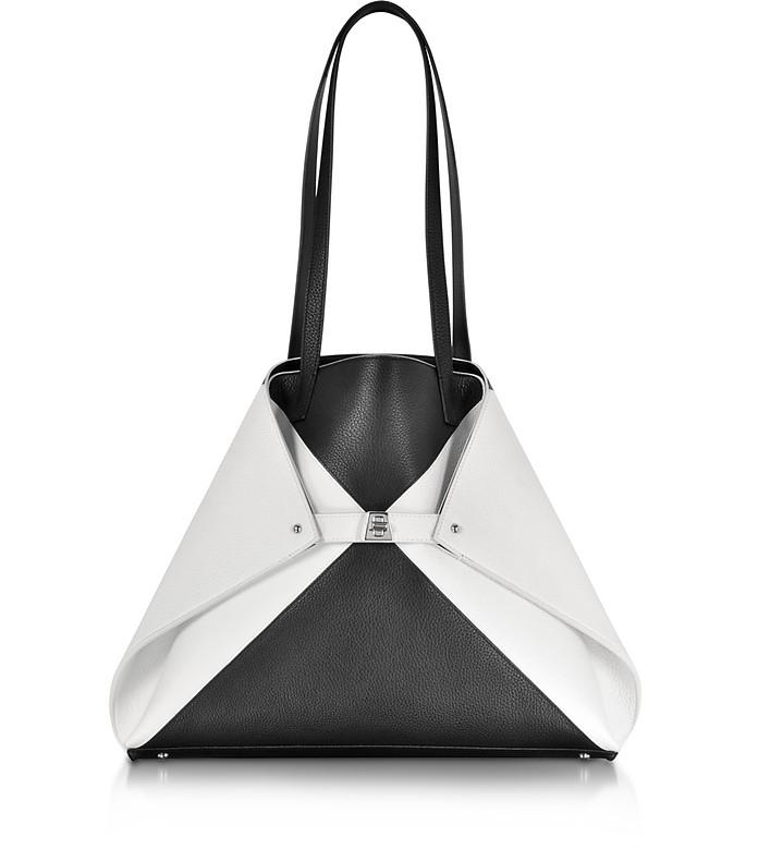Ai Medium Black and White Reversible Leather Tote bag - Akris