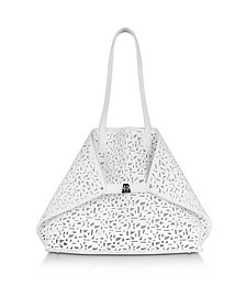 Ai Medium Shopper in Pelle Laser Cut Out Bianco Ottico - Akris