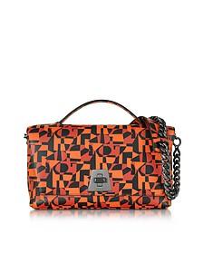 Iberica Print Tangerine Leather Small Anouk Shoulder Bag - Akris