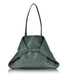 Bottle Green Cervocalf Ai Medium Shoulder Bag - Akris