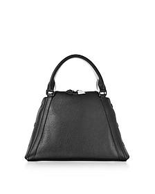 S Aimee Black and Cream Pebbled Leather Satchel Bag - Akris