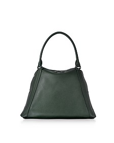 M Aimee Bottle Green Leather Satchel Bag - Akris