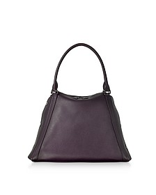 M Aimee Blackberry Leather Satchel Bag - Akris