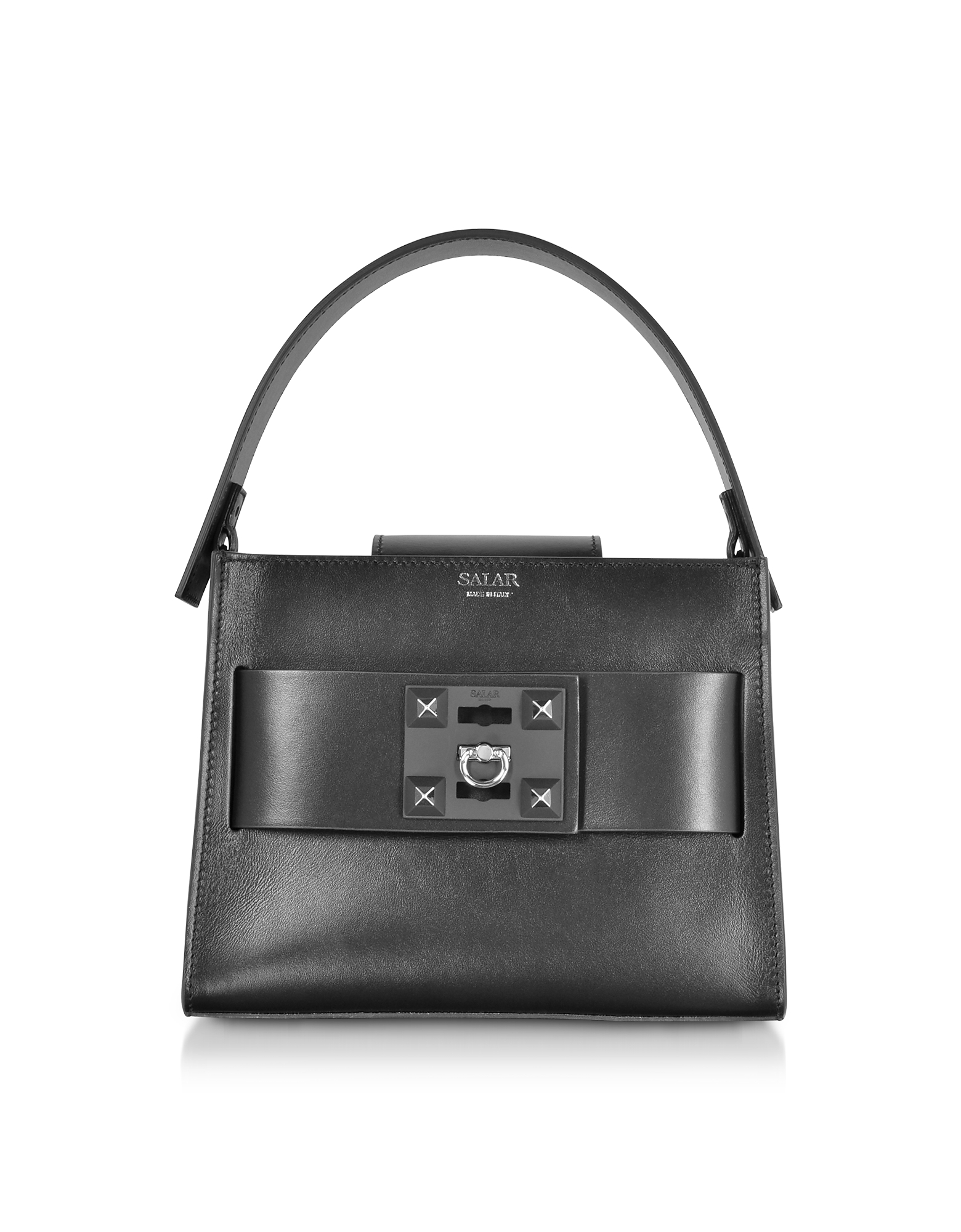 Salar LUDO BASIC BLACK LEATHER SATCHEL BAG