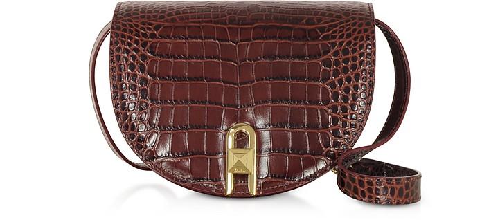 Frida Croco Embossed Leather Crossbody Bag - Salar