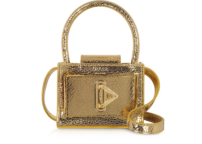 Loulou Crackle Gold Leather Top Handle Bag - Salar