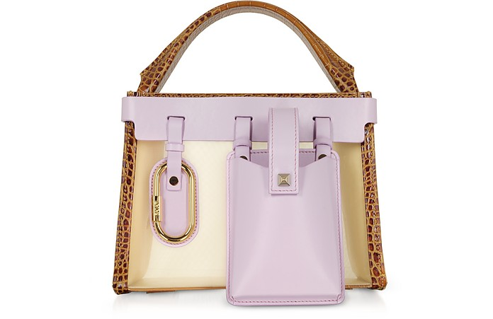 Ludo Mesh and Leather Tan & Lillac Top Handle Bag - Salar