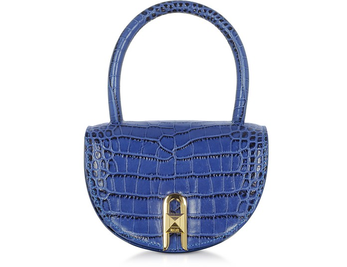 Winnie Croco Embossed Leather Light Blue Top Handle Bag - Salar