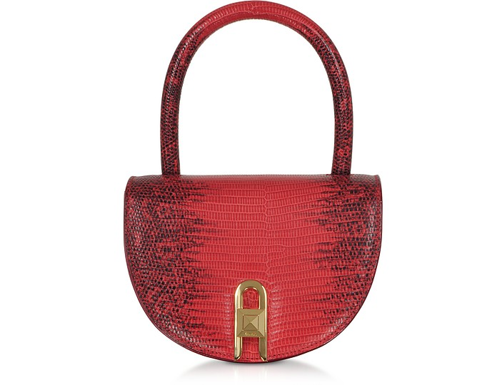 Winnie Lizard Cherry Embossed Leather Top Handle Bag - Salar