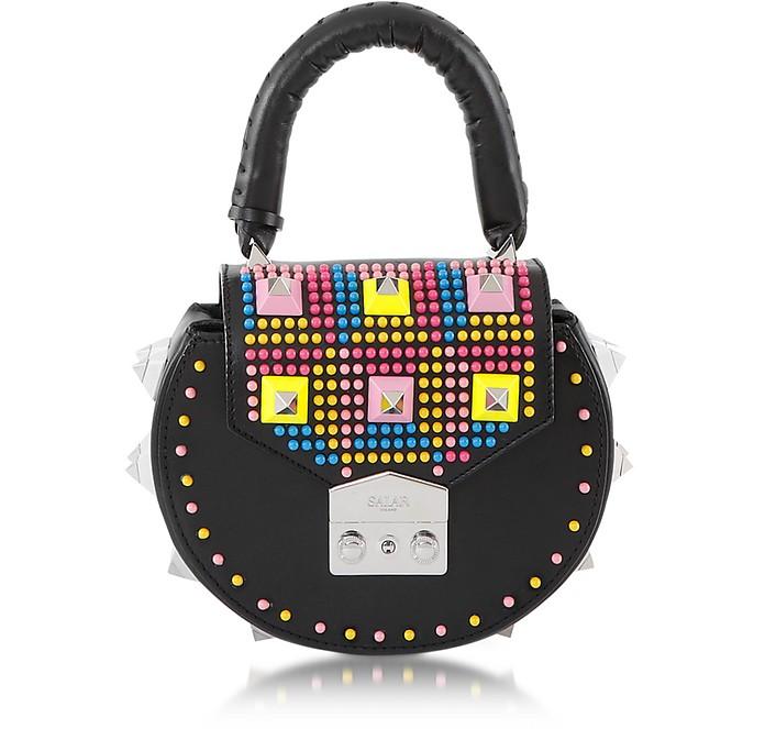 Mimi Pop Black Studded Leather Shoulder Bag  - Salar