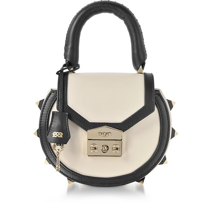 Mimi Bold Black and Ice Leather Studded Shoulder Bag - Salar