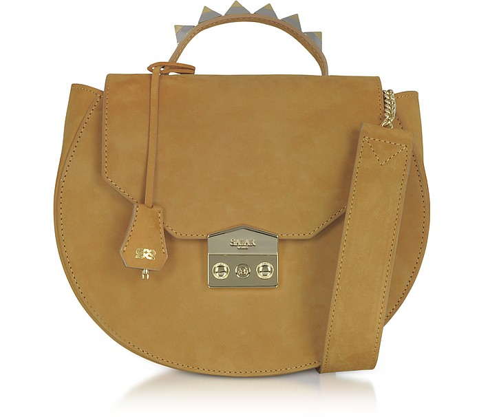 Eva Cognac Nubuck Shoulder Bag - Salar