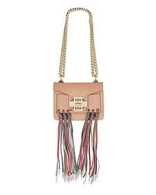 Gaia Rainbow Cognac Leather Shoulder Bag w/Fringes - Salar